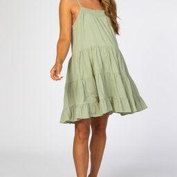 Light Olive Smocked Tiered Maternity Dress | PinkBlush Maternity