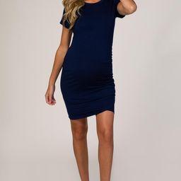 Navy Wrap Maternity T-Shirt Dress | PinkBlush Maternity