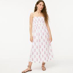 Smocked cotton poplin dress in budding branch print   J.Crew US
