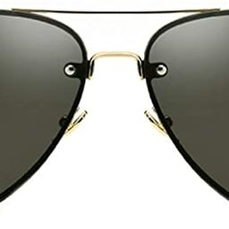 Classic Double Bridge Metal Aviator Sunglasses Retro UV400 Semi-rimless Glasses | Amazon (US)