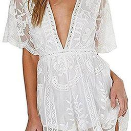 Wicky LS Women's Sexy Short Sleeve Long Dress Low V-Neck Lace Romper   Amazon (US)