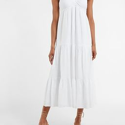 Ruched V-Neck Tiered Maxi Dress   Express
