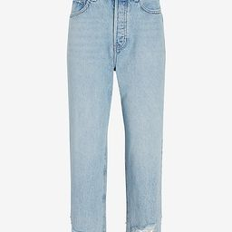 High Waisted Original Cropped Ripped Hem Dad Jeans   Express
