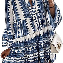 Happy Sailed Womens Long Sleve Leopard Print Tunic Shirt Dress V Neck Casual Loose Flowy Swing Sh... | Amazon (US)