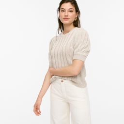 Puff-sleeve linen sweater   J.Crew US