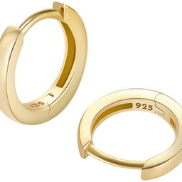 925 Sterling Silver Small Gold Hoop Earrings for Women Girls 14K Real Gold Filled Huggie Hoop Ear...   Amazon (US)