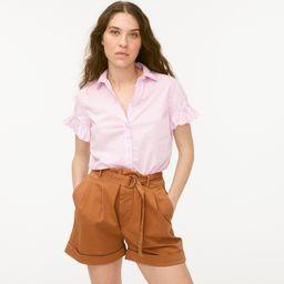 Classic-fit lightweight cotton poplin ruffle-sleeve shirt   J.Crew US