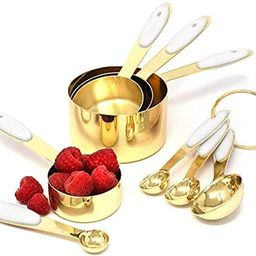 White & Gold Measuring Cups and Spoons Set - Cute Measuring Cups -8PC Gold Stainless Steel Measur... | Amazon (US)