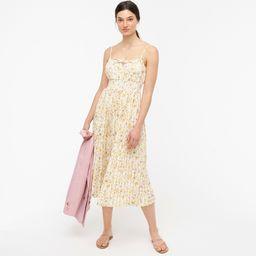 Smocked-waist pleated dress in soft posies   J.Crew US