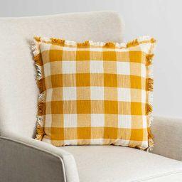 Ochre and Ivory Zephyr Check Pillow | Kirkland's Home