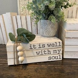 Stamped Book Stacks | Stamped Book Bundle | Farmhouse Decor | Farmhouse Books | It is Well With M... | Etsy (US)