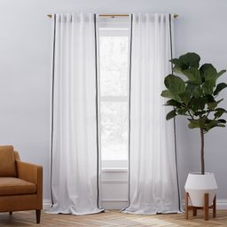European Flax Linen Embroidered Stripe Curtain - White/Charcoal | West Elm (US)