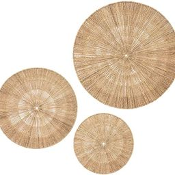 Artera Wicker Wall Decor- Set of 3 Oversized Woven Seagrass Wall Plaques, Unique Wall Art for a B... | Amazon (US)