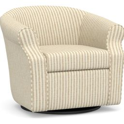 SoMa Lyndon Upholstered Swivel Armchair, Polyester Wrapped Cushions, Vintage Stripe Black/Ivory | Pottery Barn (US)