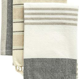 Creative Co-Op Grey & Tan Striped Cotton Tea Towels with Tassels (Set of 3) Entertaining Textiles... | Amazon (US)