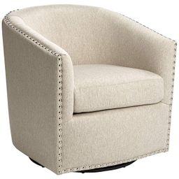 Fullerton II Oatmeal Swivel Accent Chair | LampsPlus.com