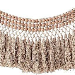 Creative Co-Op Bead Wool Fringe Wall Hangings, Brown | Amazon (US)