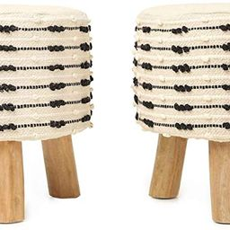REDEARTH Foot Stool -Handmade Wooden 3 Legs Tufted Seat Footrest for Living Room, Bedroom, Nurser... | Amazon (US)