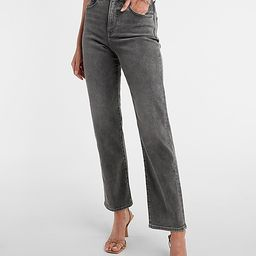 Super High Waisted Faded Black Modern Straight Jeans   Express