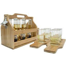 Sorbus Bamboo Wooden Bottle Caddy with Opener & Sampler Boards, 6-Pack Drink Holder for Beer, Sod... | Walmart (US)