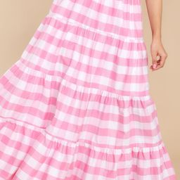 Too Much To Say Pink Gingham Skirt   Red Dress