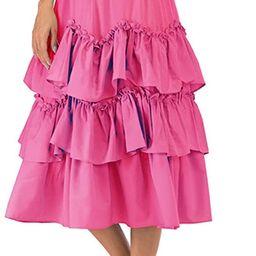 ebossy Women's Elastic High Waisted Skirts Muitl Layered Tiered Ruffle A-line Swing Midi Skirt Dr...   Amazon (US)