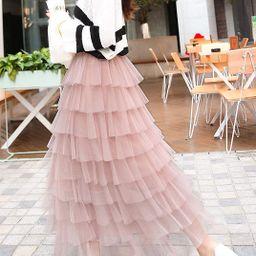 ebossy Women's Sweet Elastic Waist Tulle Layered Ruffles Mesh Long Tiered Skirt   Amazon (US)