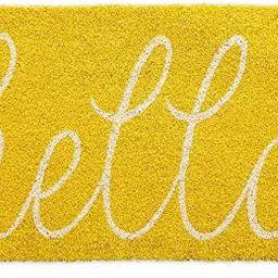 DII Hello Coir Fiber Doormat Non-Slip Durable Outdoor/Indoor, Pet Friendly, 18x30, Yellow | Amazon (US)