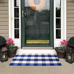 Carvapet Buffalo Checkered Area Rug Navy Blue White Checkered Carpet Buffalo Plaid Rugs 27.5x43.3... | Amazon (US)
