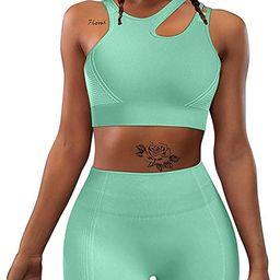 HYZ Women's Workout Yoga 2 Piece Outfits High Waist Sports Shorts Removable Padded Bra Set   Amazon (US)