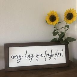 Every Day Is A Fresh Start Word Sign | Farmhouse Painted Wall Sign | Inspirational Sign | Happy D... | Etsy (US)