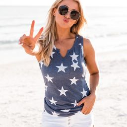 Future Stardom Star Print Blue Tank   The Pink Lily Boutique