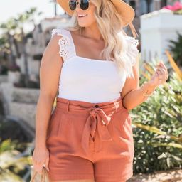 Bayside Stroll Paperbag Linen Terracotta Shorts   The Pink Lily Boutique