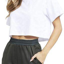 LOVFEE Womens Basic Short Sleeve Loose Crop T-Shirts Sexy Plain Crop Tops   Amazon (US)