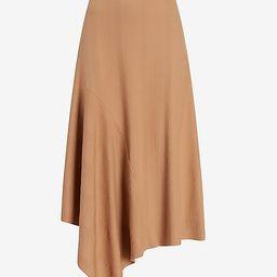 High Waisted Ribbed Knit Flounce Midi Skirt   Express