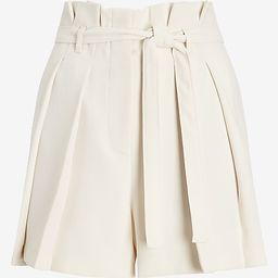 Super High Waisted Belted Pleated Paperbag Shorts   Express