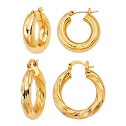 Scoop Brass Yellow Gold-Plated Hoop Earrings Set   Walmart (US)