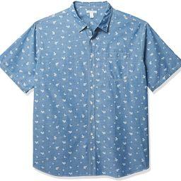 Amazon Essentials Men's Big & Tall Short-Sleeve Print Casual Poplin Shirt fit by DXL | Amazon (US)