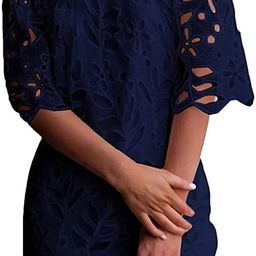 PRETTYGARDEN Women's Summer Off Shoulder Vintage Floral Lace Flare Short Sleeve Loose Elegant Min... | Amazon (US)