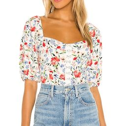 Hook & Eye Square Neck Top in Red Multi Floral | Revolve Clothing (Global)