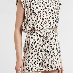 Leopard Cropped Padded Shoulder Top | Express