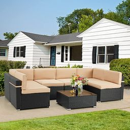 U-MAX 7 Piece Outdoor Patio Furniture Set, PE Rattan Wicker Sofa Set, Outdoor Sectional Furniture... | Amazon (US)