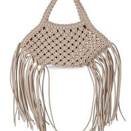 Mini Fringe-Trimmed Macramé Vegan Leather Basket Bag | Saks Fifth Avenue