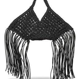 Small Fringe-Trimmed Macramé Basket Bag | Saks Fifth Avenue