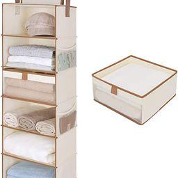 StorageWorks 6-Shelf Large Hanging Closet Shelves, Hanging Closet Organizer with 1 Drawer, Canvas... | Amazon (US)