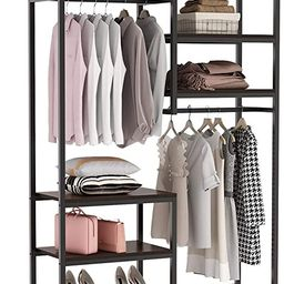 Tribesigns Free standing Closet Organizer, Double Hanging Rod Clothes Garment Racks with Storage ... | Amazon (US)