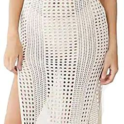 Bsubseach Women Lace Up V Neck Long Sleeve Crochet Swimsuit Cover Up Dress   Amazon (US)