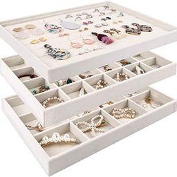 Mebbay Stackable Velvet Jewelry Trays Organizer, Jewelry Storage Display Trays All Velvet for Dra... | Amazon (US)