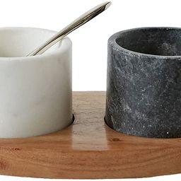 Creative Co-Op 2 Marble Bowls on Mango Wood Base with Salt Spoon | Amazon (US)
