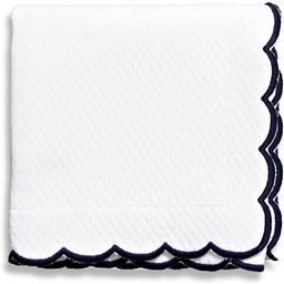Belle Epoque Isabel Embroidered Scalloped King Coverlet, White/Navy   Amazon (US)